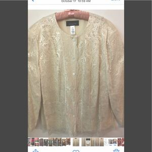 Vintage Jones New York Lace Blouse Jacket - 24W